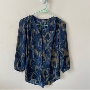 NYDJ Blue Long Sleeve Blouse- Size XXS